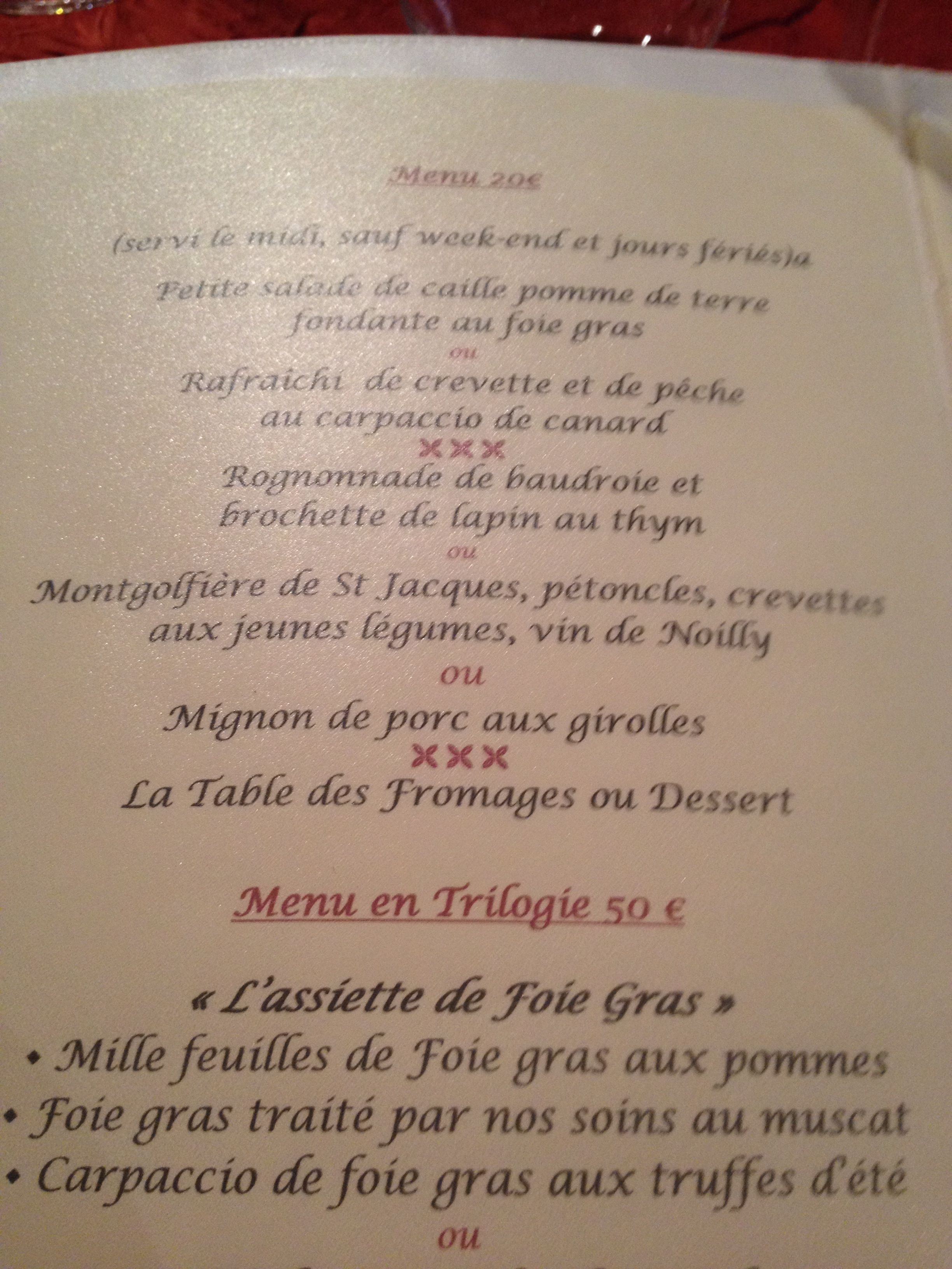 La Table D Emilie Marseillan September 2014 Lunchtime Menu