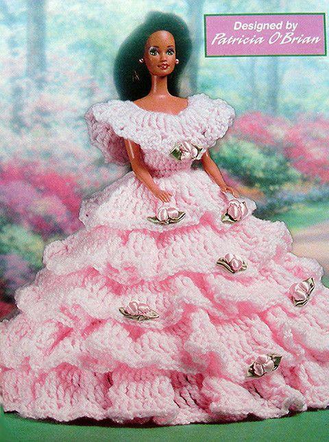 Crochet PATTERN ONLY ~ Barbie's Ruffly Party Dress ~ Fashion Doll Finery!