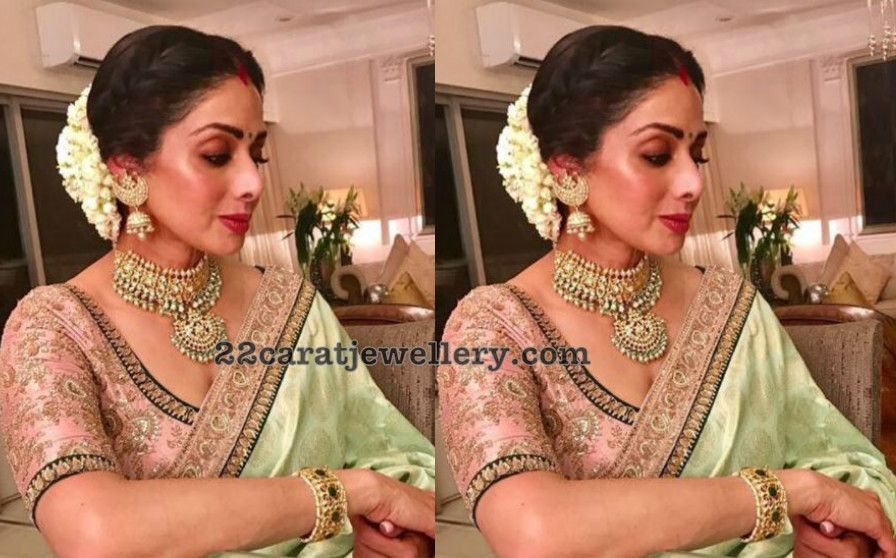 Mehndi Party Saree : Sridevi kapoor karva chauth party saree blouse designs and manish