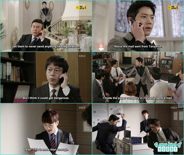 myung Seok in his father voice make a call to the sectary and ask him to send the tanzanian bank records - Chief Kim: Episode 19