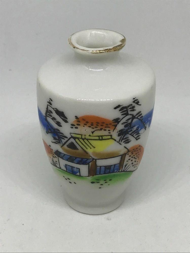 Vintage Japanese Vase Hand Painted Miniature Porcelain 2 38 Tall