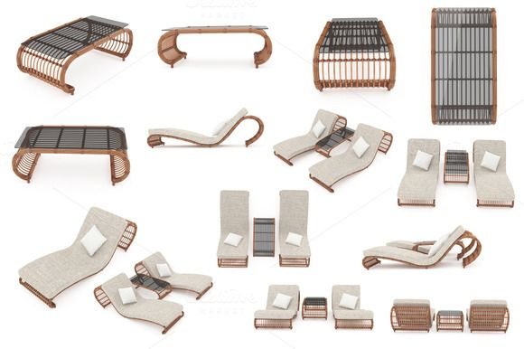 Set rattan furniture, isolated  @creativework247