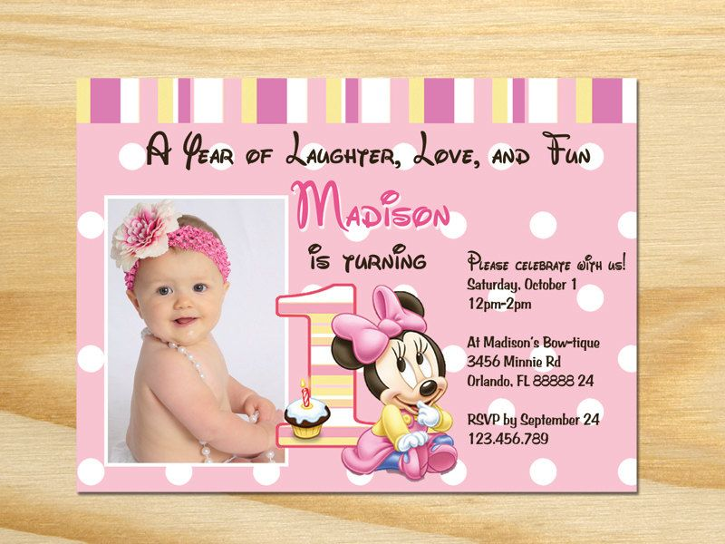 Minnie Mouse First Birthday Invitation Printable Minnie Mouse - Minnie mouse 1st birthday invitations free templates