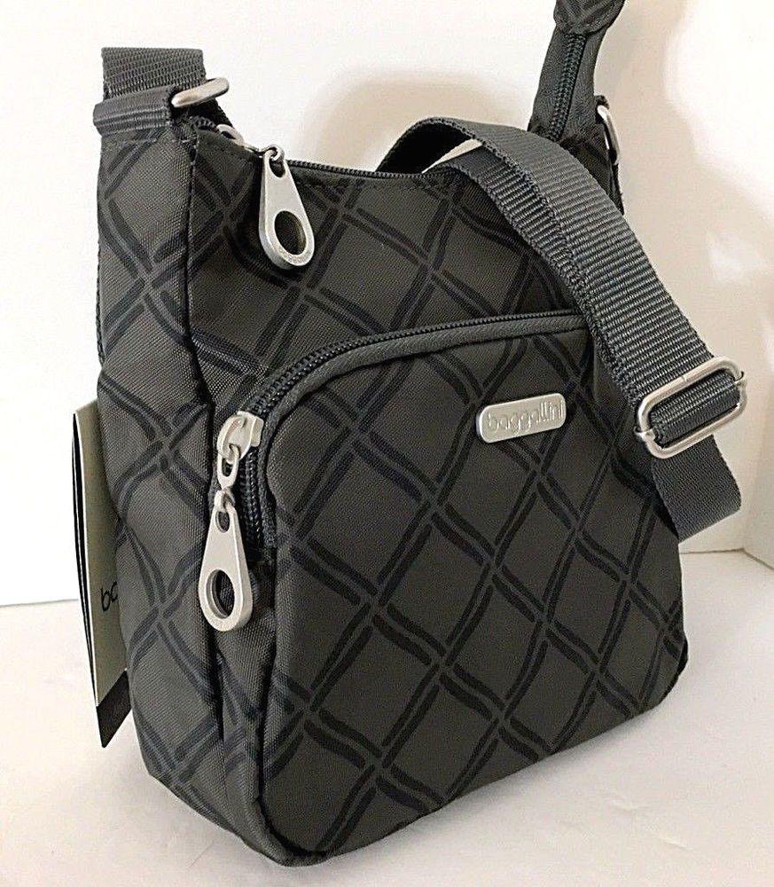f04c8a2ee5 NEW BAGGALLINI Small Crossbody Shoulder Bag Charcoal Link Gray Nylon Top  Zip  Baggallini  Crossbody