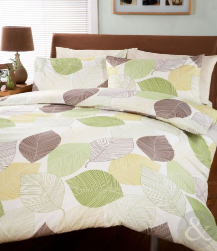 Leaves Duvet Cover Cream Green Brown Bedding Bed Set Modern