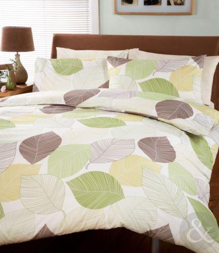 Leaves Duvet Cover Cream Green Brown Bedding Bed Set Modern Quilt Kingsize