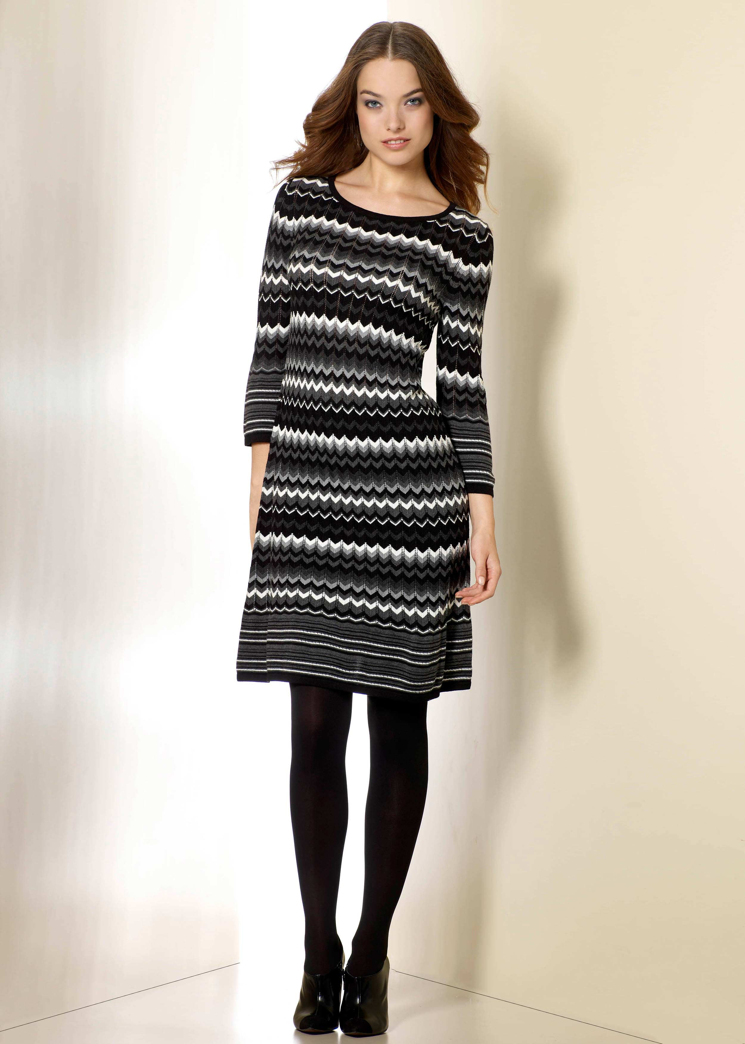 Zig Zag Sweater Dress with Boots