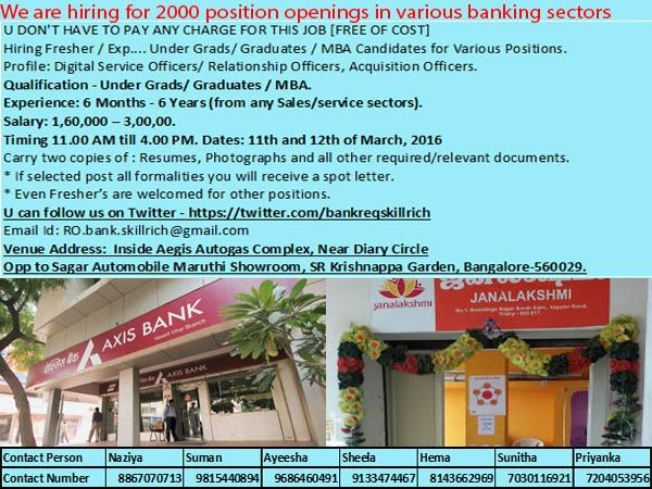 Mega Drive For Bank Jobs In Bangalore on 11th &12th Mar'16