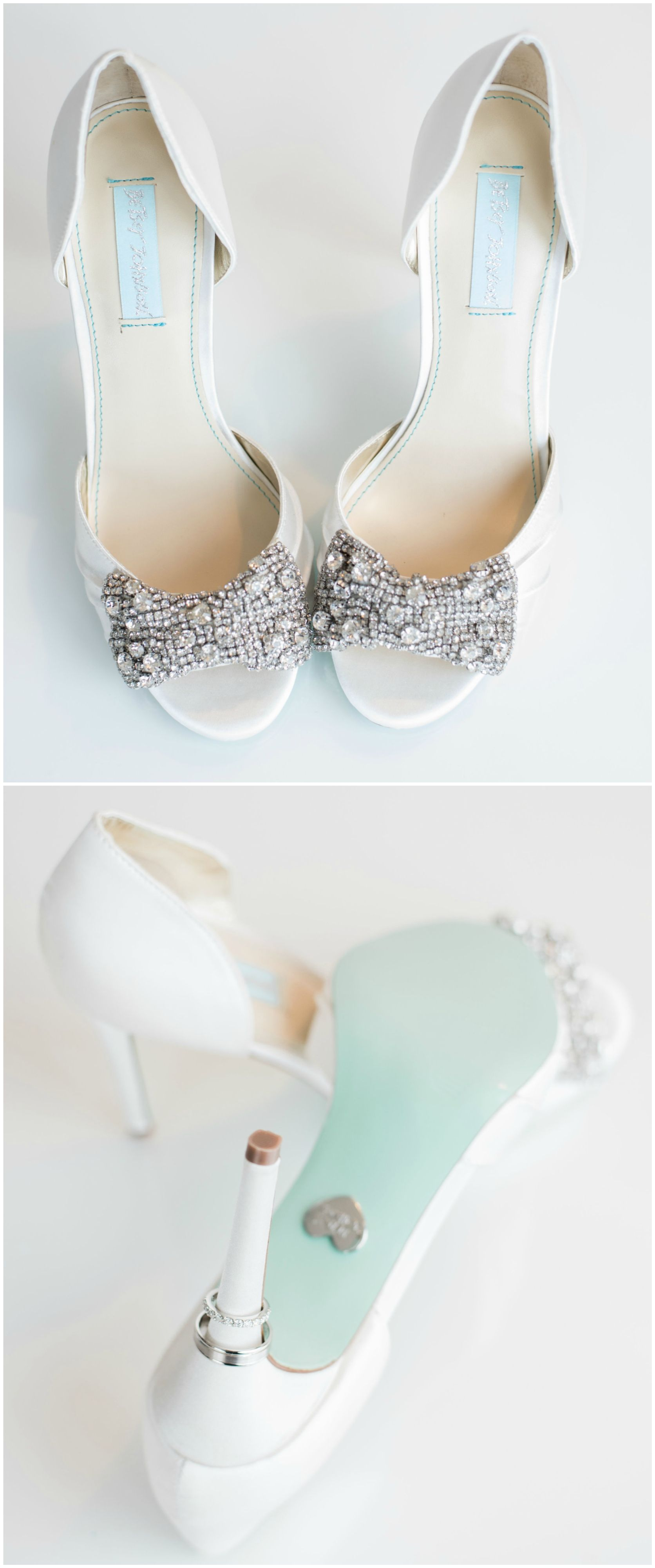 Betsey Johnson Heels Bedazzled Bow Turquoise Sole Wedding Shoes Rowan Wells