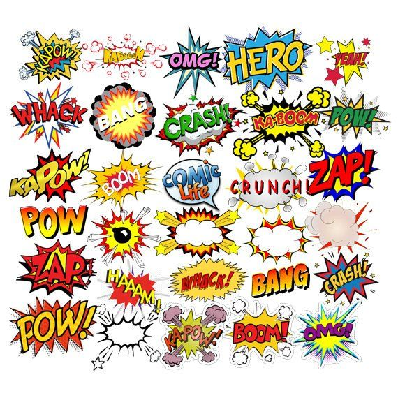 INSTANT DOWNLOAD - Superheroes Pop Art Text, Bubbles Clipart
