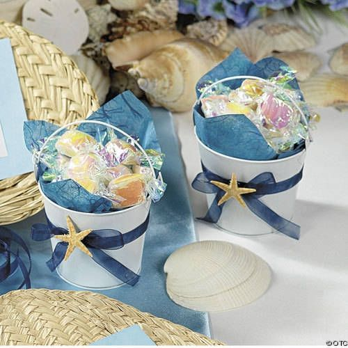 Beach Wedding Ideas On A Budget: Idoo Assorted Pastel Colored Tin Pails Favor Boxes With