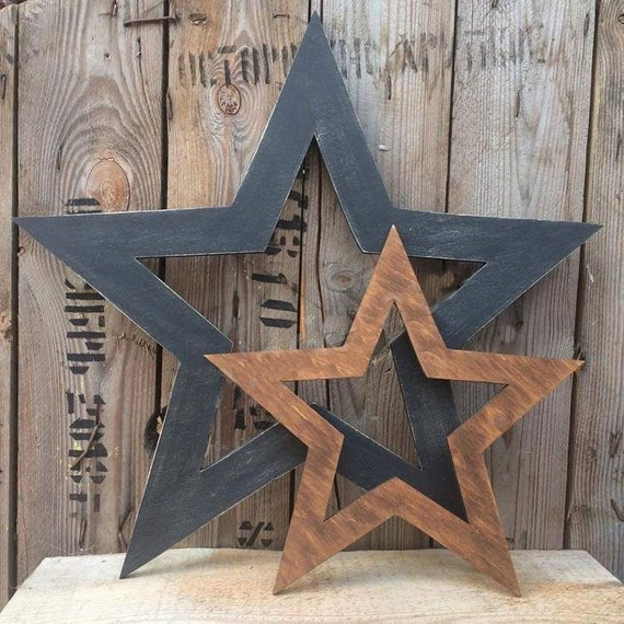 Set Of 2 Rustic Stars Wooden Star Wall Decor Hanging