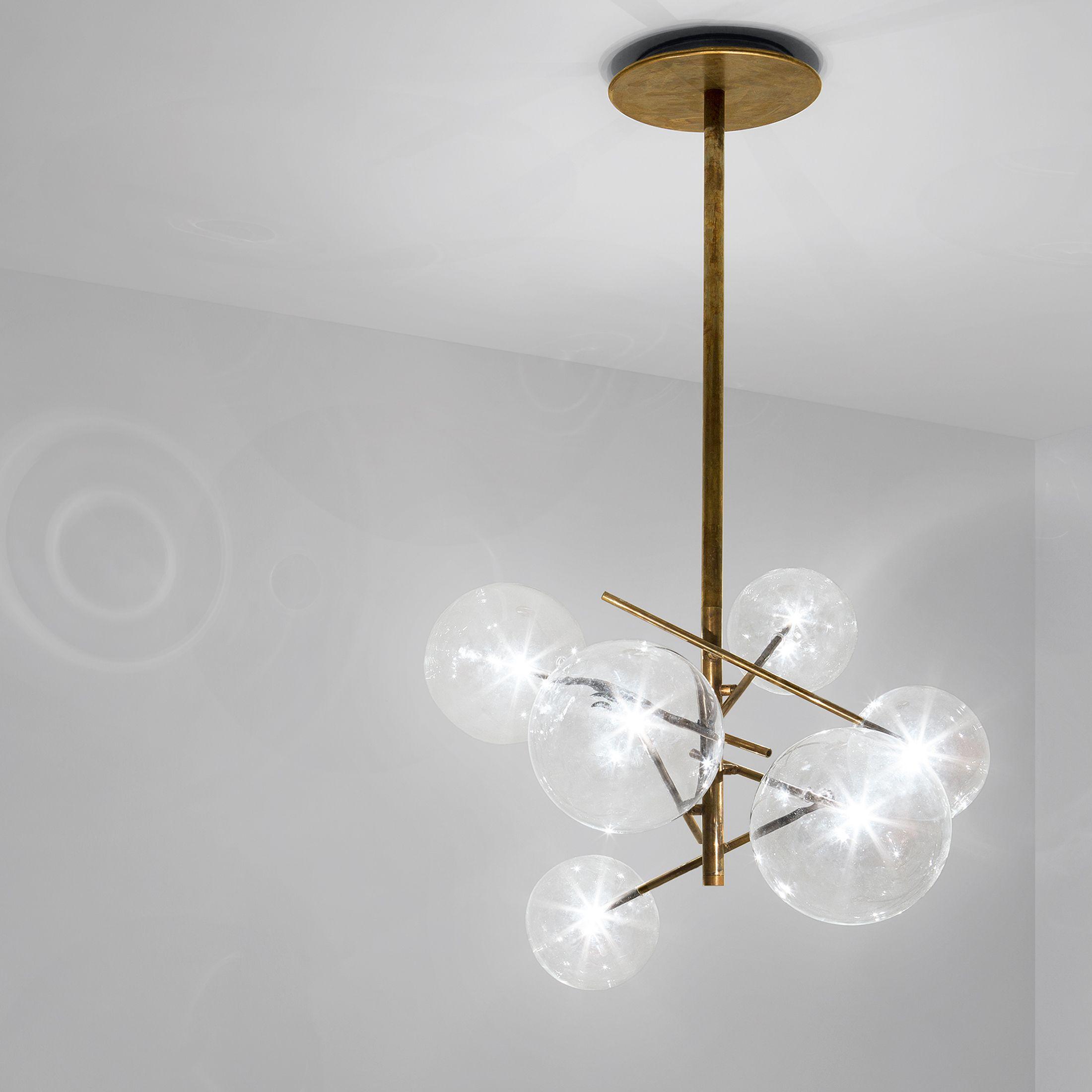 Hanging lamp with halogen point light (120 Watt). 6 transparent ...