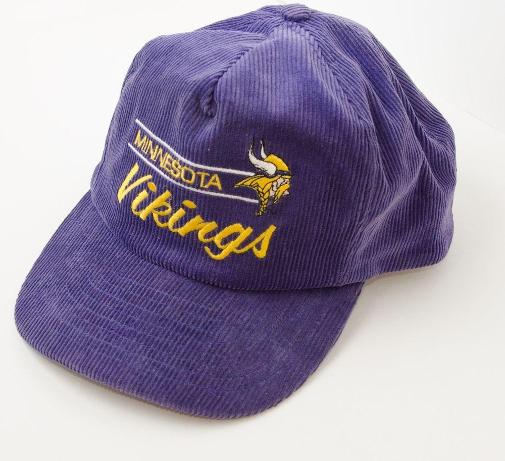 07c84cbc Vintage Minnesota Vikings Annco Corduroy Snapback Hat Cap NFL ...