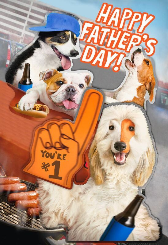 Cute Sports Fan Dogs Funny Father S Day Card Funny Fathers Day
