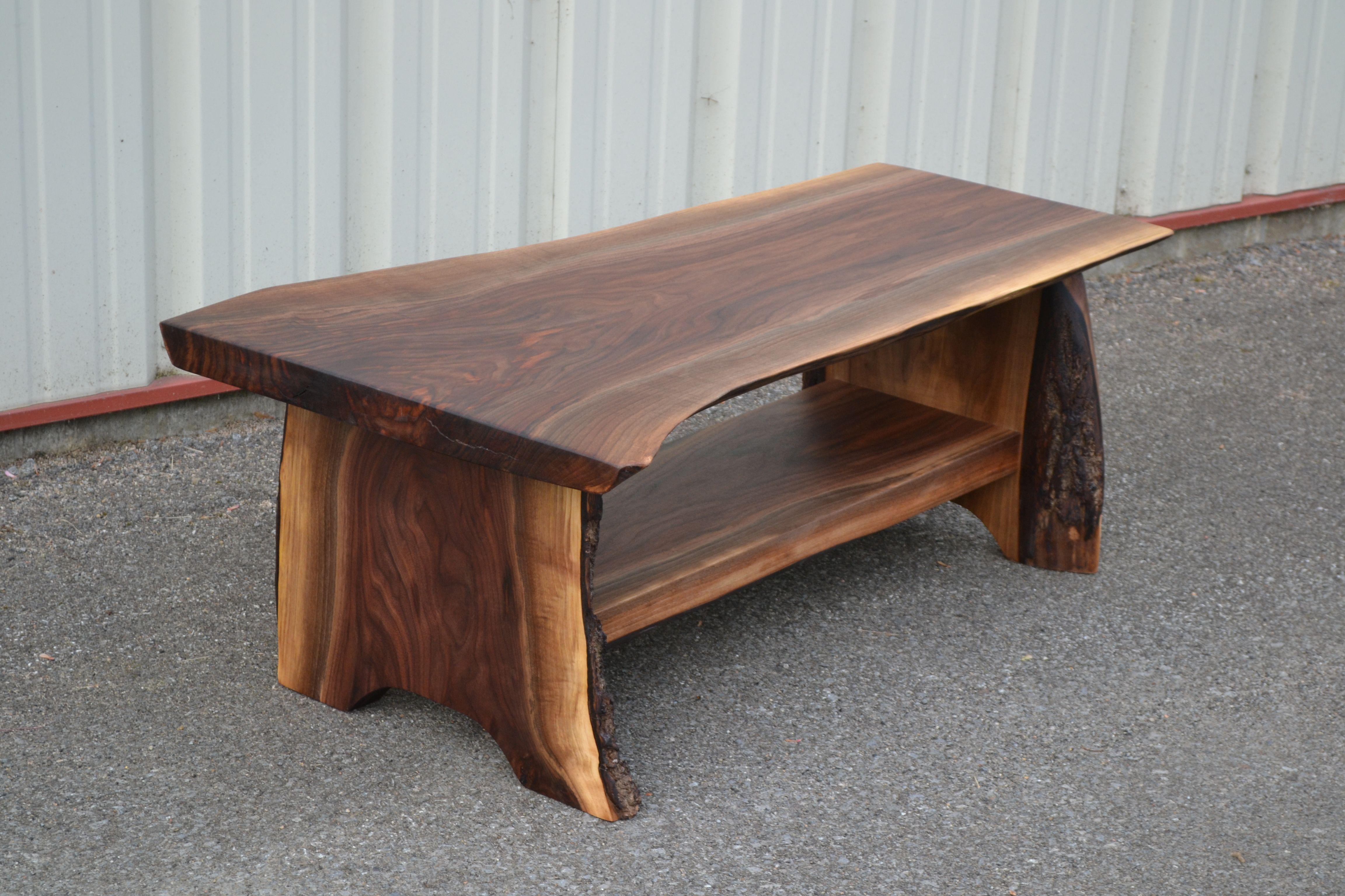 Live Edge Coffee Table With Shelf Coffee Table Wood