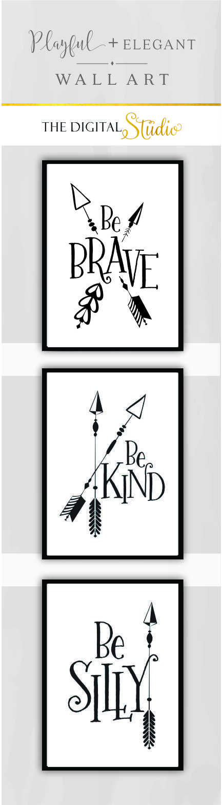 Modern Nursery Wall Art Black And White Arrow Decor Woodland