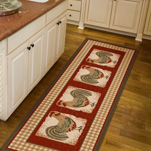 Country Kitchen Rugs: $27.91-Orian Country Rooster Runner Rug