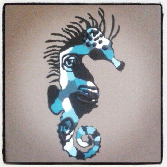 Seahorse taupe blue