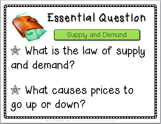 The Essential Questions Learning Chart For My Lesson Economics Supply And Demand Essential Questions This Or That Questions Economics