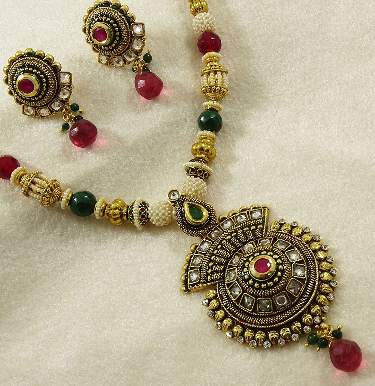 Matra ethnic indian traditional gold tone kundan pendent necklace