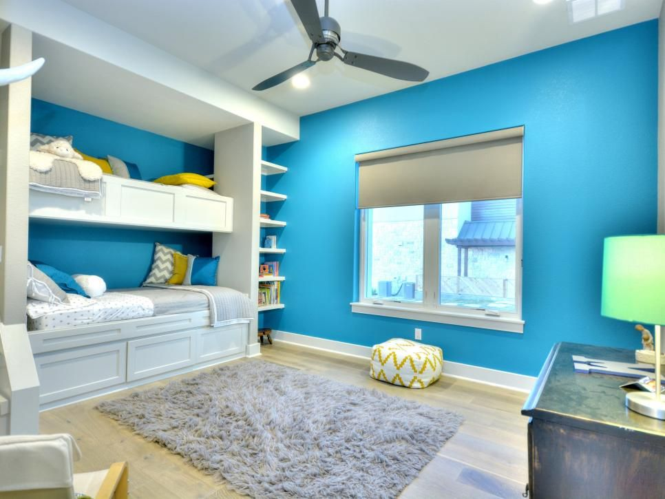 Pinterest & Bright blue walls give this kid\u0027s bedroom a lively look. Built-in ...