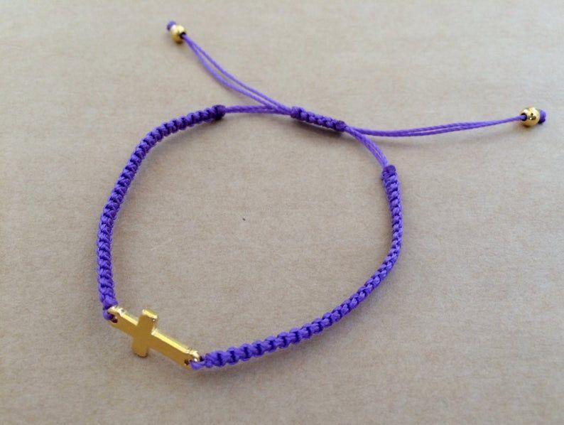 Dainty Sideways Gold Silver Plated Cross Macrame Friendship Bracelet Charm Bracelet Dainty Bracelet Elegant Gift For Her Pulseras Oro Plata Pulsera De La Amistad