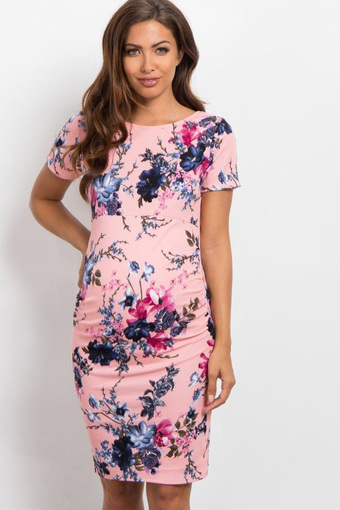 d0e78e926c847 Blue Floral Fitted Short Sleeve Maternity Dress in 2019 | Baby ...