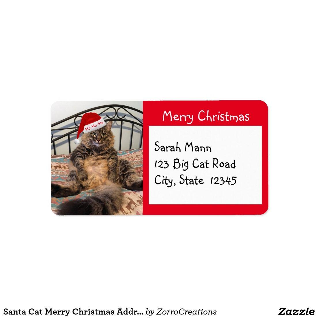 Santa Cat Merry Christmas Address Labels | Zazzles Christmas ...