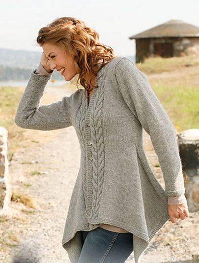 Womans Ladies Medieval Asymmetric Aran Cable Jacket Knitting Pattern