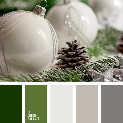 color gris azulado, color verde abeto, color verde fuerte, colores del Año Nuevo, colores navideños, gris claro, gris oscuro, gris y verde, matices del gris azulado, paleta de la Navidad, selección de colores para el Año Nuevo, tonos grises y verdes, tonos verdes, tonos verdes y grises, verde oscuro,