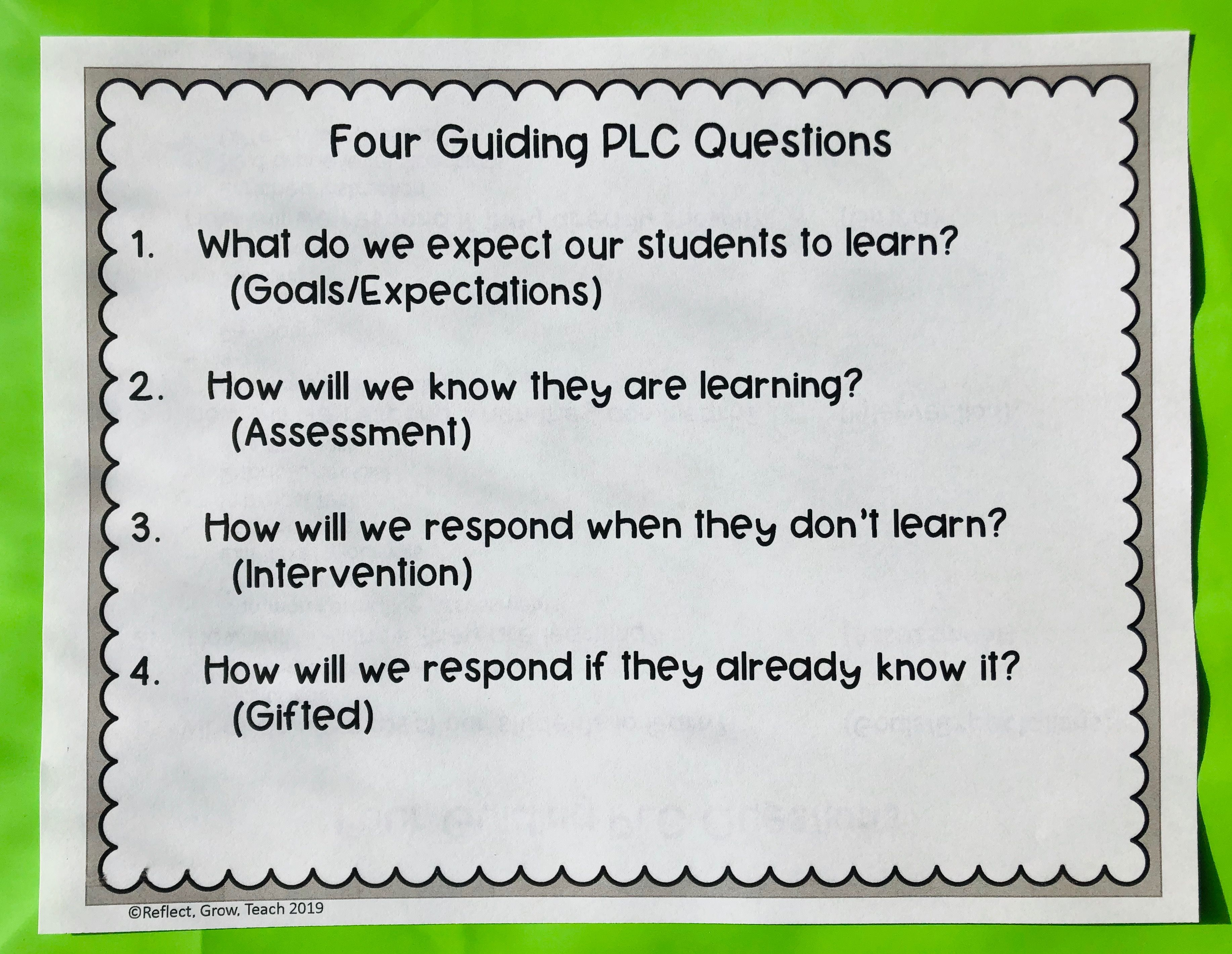 The Basics Of Professional Learning Communities 4 Plc Questions