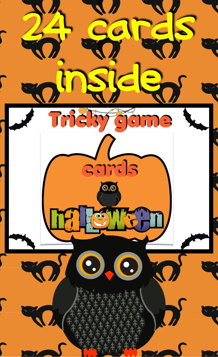 Halloween vocabulary card game. 24 cards. Suitable for