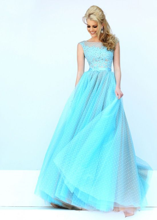 Beauty High Illusion Neck Long Beaded Light Blue Nude Prom Dress ...