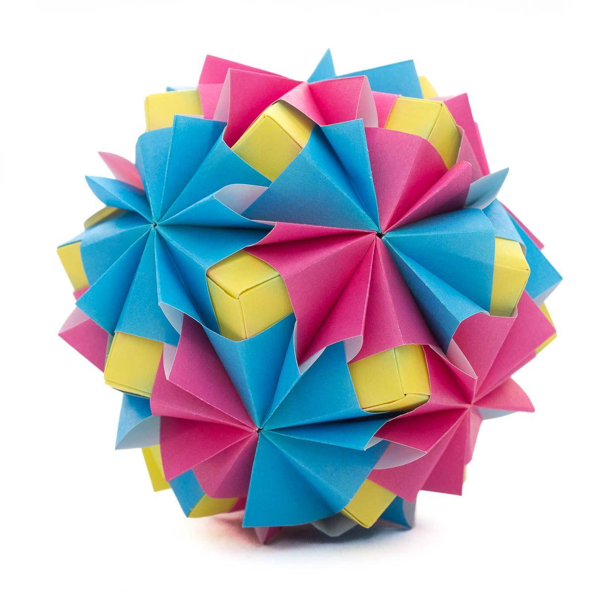 Diagram for a modular origami ball, Kusudama Waltz Sonobe ... on