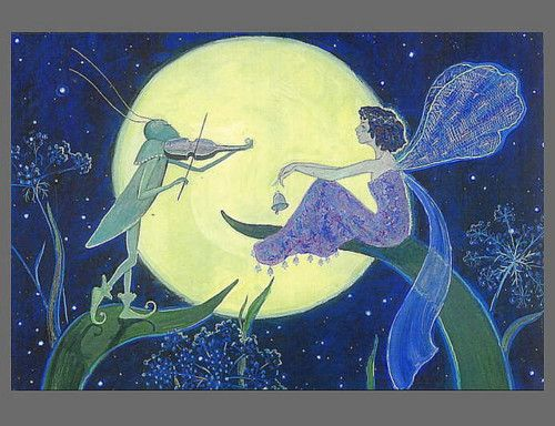 Fairy and violin playing insect by Yatsenko - postcard.
