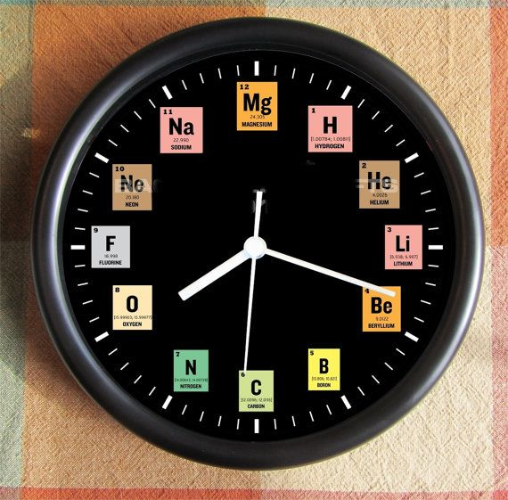 Periodic Table Student Big 10 Inch Black Wall Clock Under 25 00 Black Wall Clock Clock Wall Clock