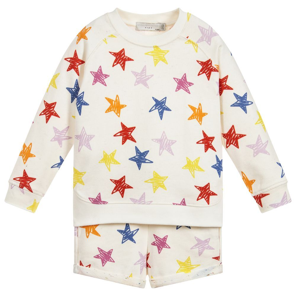 b786e1cb Girls ivory shorts tracksuit by Stella McCartney Kids. It is made in ...
