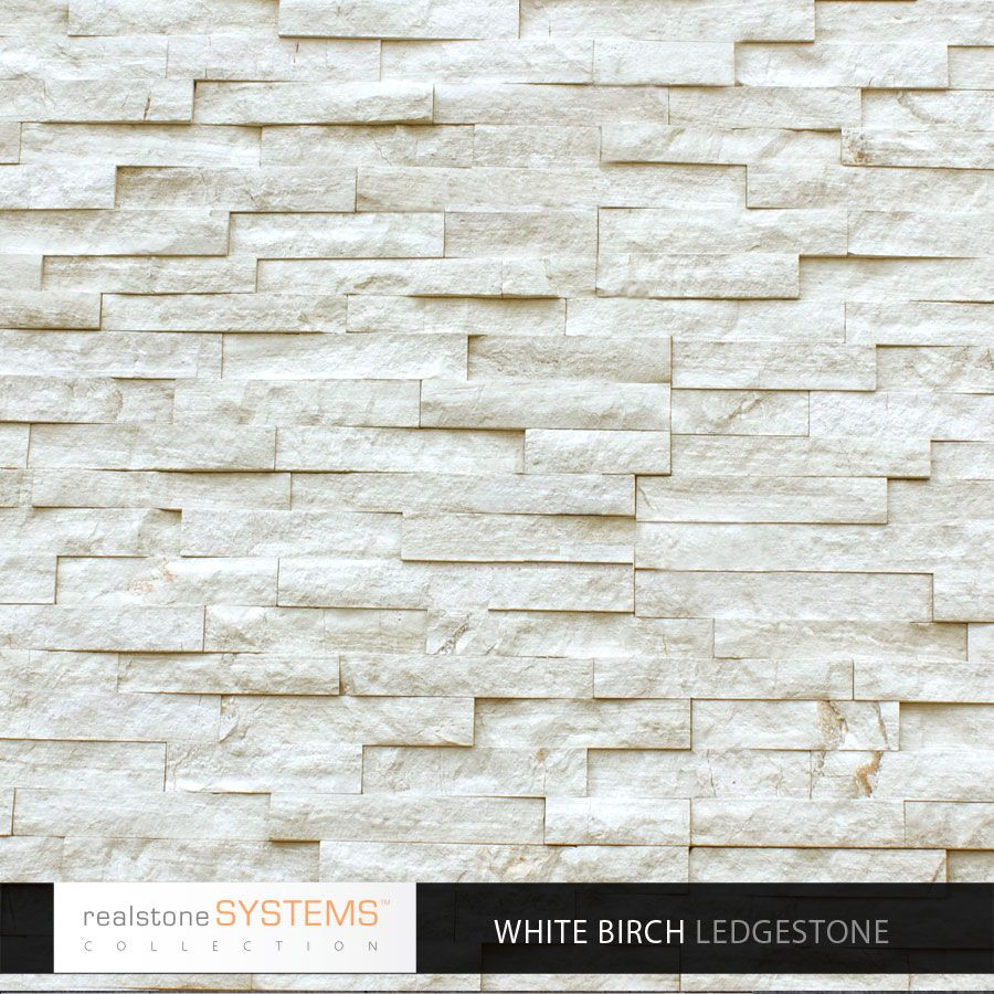 Stone Veneer White : Fireplace tile white birch ledgestone collection veneer