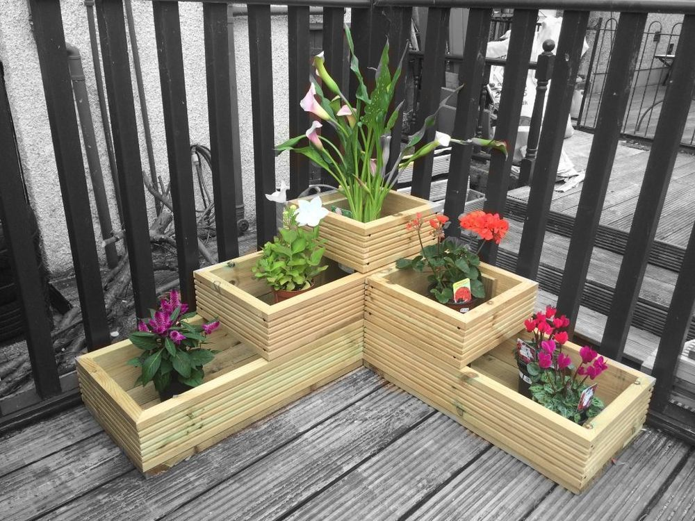 Wooden 3 tier corner garden decking planter fully lined mitred corners is part of garden Planters Decking -