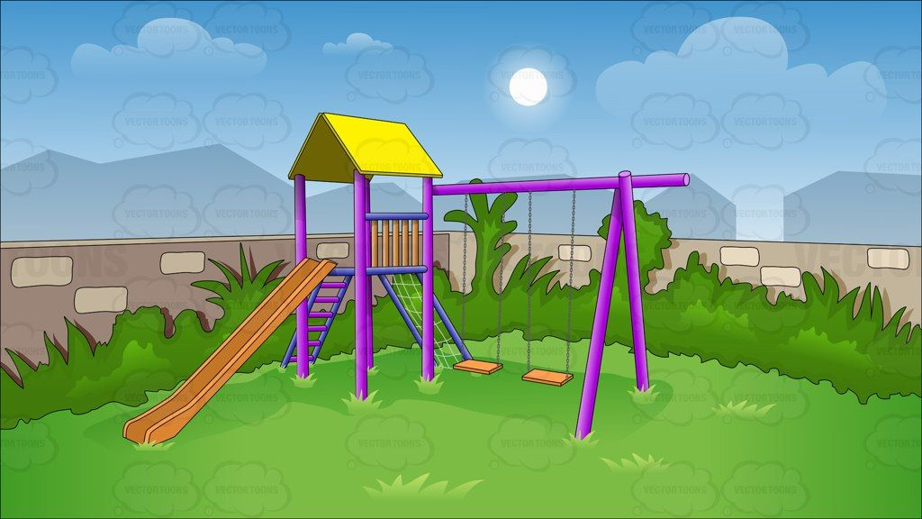 Children S Swing And Slide In Backyard Background Vector