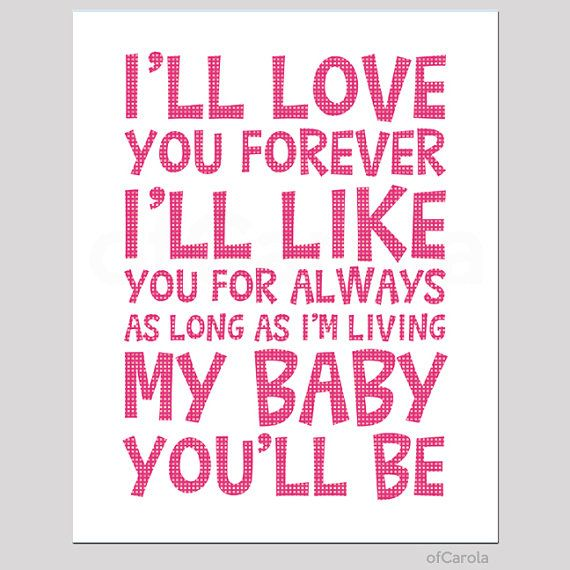 Ill love you forever wall art print text quote by ofcarola 15 00