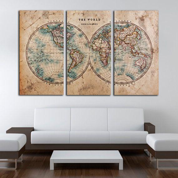 Ancient world map canvas printgenuine old stained world map living ancient world map canvas printgenuine old stained world map living room wall art publicscrutiny Gallery