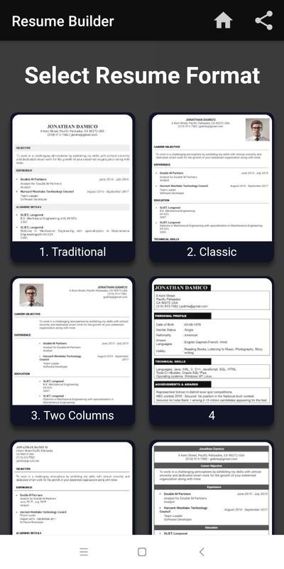 Resume Templates App (9 di 2020