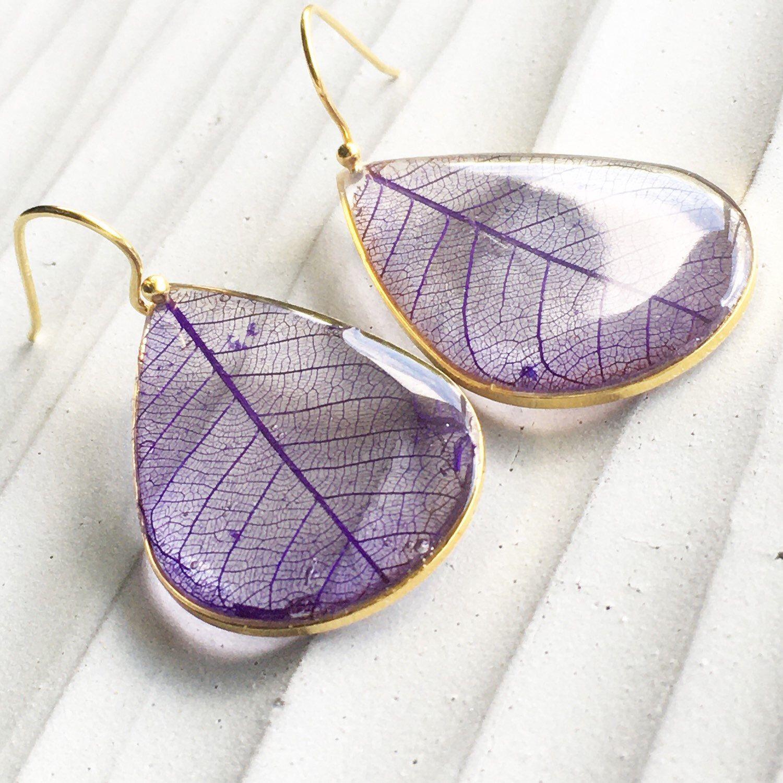 Earrings With Dry Wild Carrot Purple Earrings With Flowers Real Flower Earrings Resin Jewelry Bronze Earrings Gift For Her