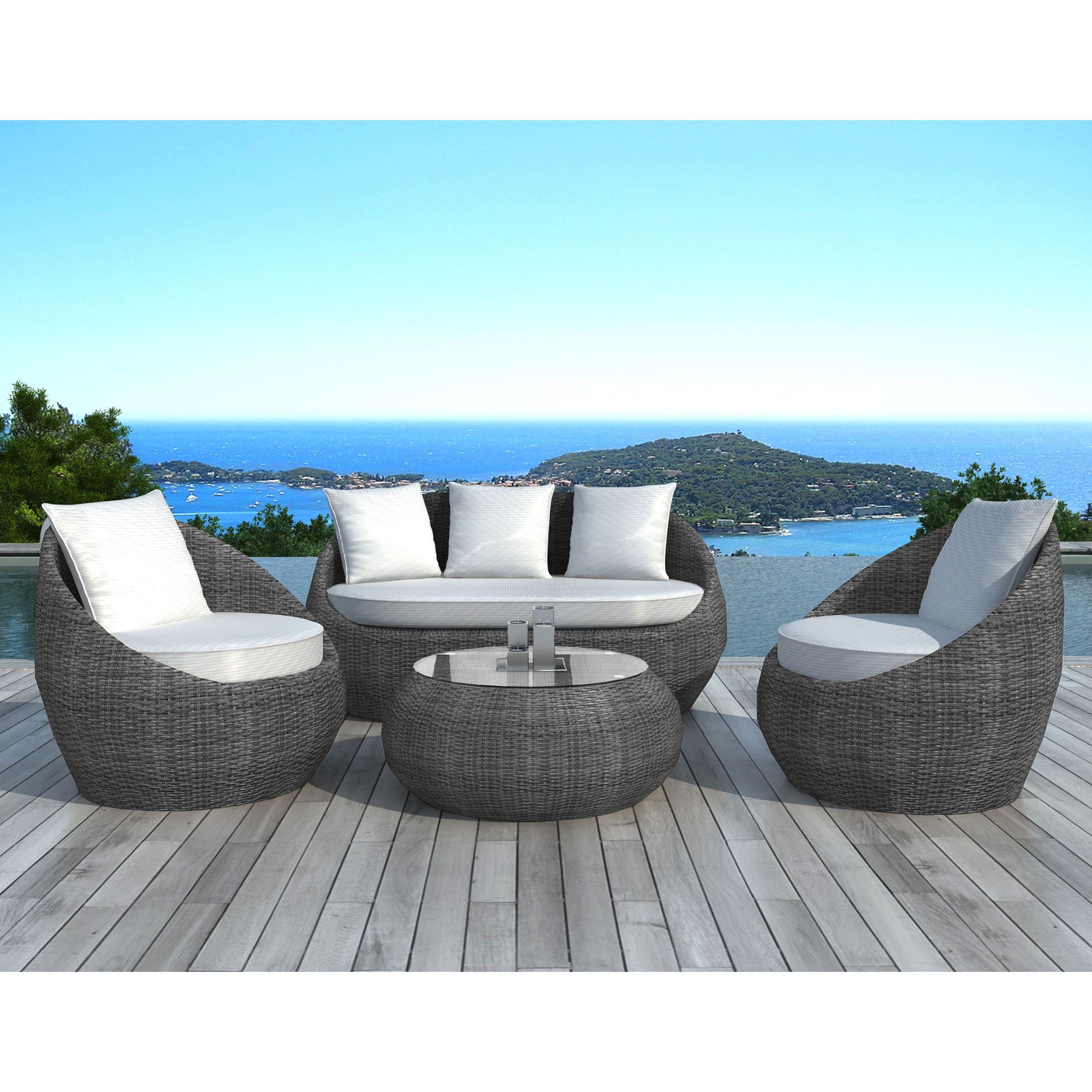 Salon de jardin en r sine tress e 5 places - Table basse resine tressee noir ...