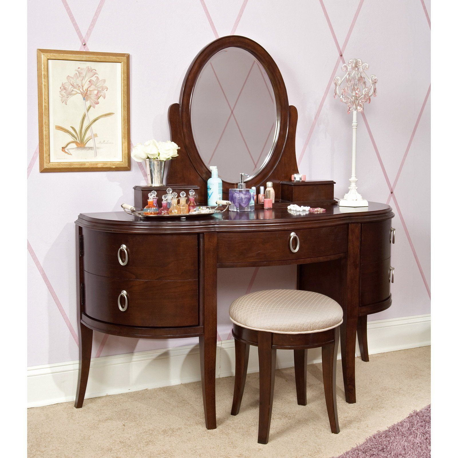 Glamour Girl Vogue Bedroom Vanity Set Home Seat