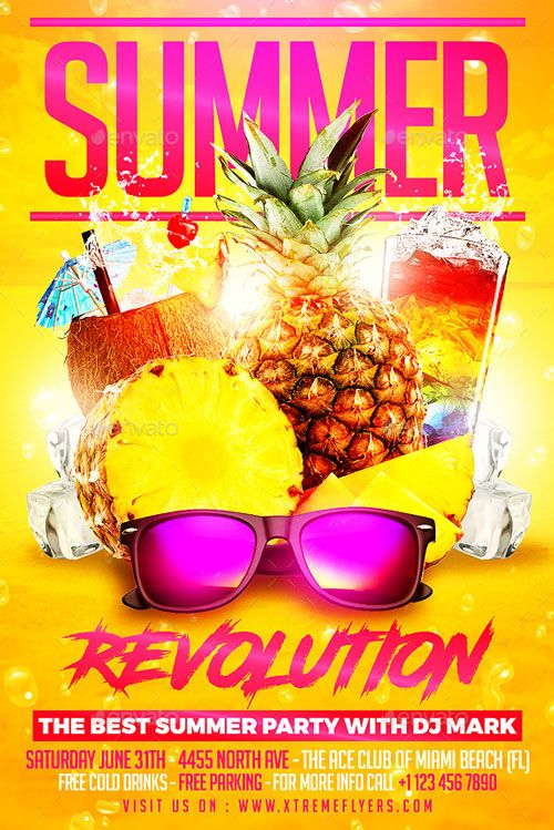 Summer Break Beach Party Flyer Template