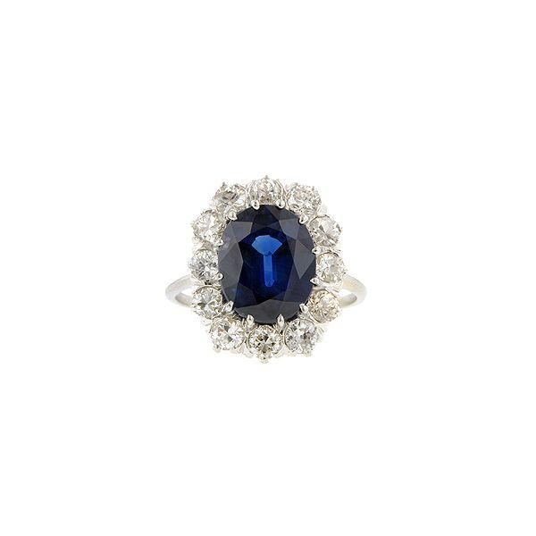 Doyle & Doyle | Ring: Vintage Oval Sapphire & Diamond Ring, 4.19ct