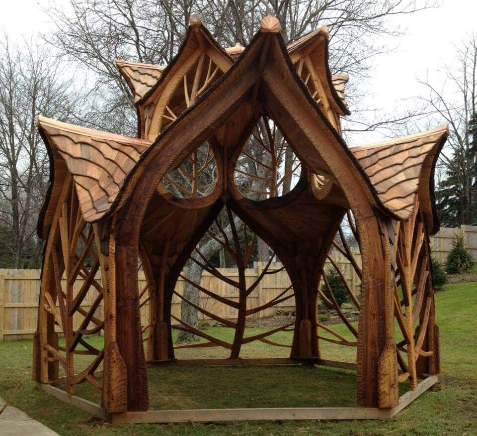 Wooden hobbit gazebo unique furniture pinterest tree for Hobbit house furniture